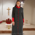Ladies Black and Red Clergy Robe with Satin Cuffs