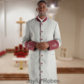 Men's Gray and Burgundy Maroon Clergy Robe with Satin Cuffs