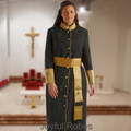 Ladies Black and Gold Satin Cuffs Clergy Robe with Matching Cincture Set in Gold and White Crosses