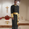 Men's Black and Gold Satin Cuffs Clergy Robe with Matching Cincture Set in Gold and Black Crosses