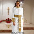 Ladies White and Gold Satin Cuffs Clergy Robe with Matching Cincture Set in Gold and White Crosses