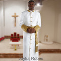 Men's White and Gold Satin Cuffs Clergy Robe with Matching Cincture Set in Gold and White Crosses