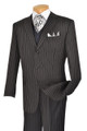 Classic 3 Pc. Vested Black Pinstripe Suit