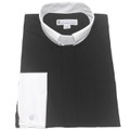 Men's Long-Sleeve Tab Collar Clergy Shirt in Black with White Collar and French Cuffs