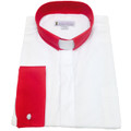 Men's Long-Sleeve Tab Collar Clergy Shirt in White with Red Collar and French Cuffs