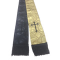 Premium Brocade Clergy Stole - REVERSIBLE - Gold and Black