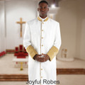 Men's White/Gold Clergy Robe with Satin Cuffs