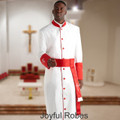 Men's White/Red Clergy Robe and Matching Red/White Cincture Set
