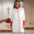Ladies White/Red Clergy Robe with Premium Satin Cuffs and Embroidered Crosses