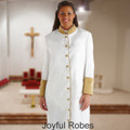 Ladies White/Gold Clergy Robe with Premium Satin Cuffs and Embroidered Crosses