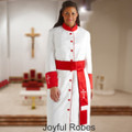 White/Red Ladies Clergy Cassock and Matching White/Red Cincture Set