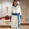 356 W. Women's Pastor/Clergy Robe - Creme/Royal Matching Cincture Set