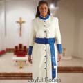 356 W. Women's Pastor/Clergy Robe - Creme/Royal Matching Cincture Set