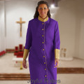 Ladies Purple/Gold Clergy Cassock with Premium Satin Cuffs and Embroidered Crosses