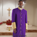 302 M. Men's Pastor/Clergy Robe - Purple/Gold