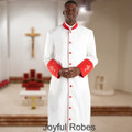 Men's White/Red Clergy Robe with Premium Satin Cuffs and Embroidered Crosses