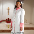 307 W. Women's Clergy/Pastor Robe - White/Rose