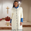 Ladies Creme/Royal Clergy Robe with Satin Cuffs & Embroidered Crosses