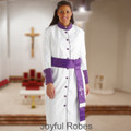 354 W. Women's Pastor/Clergy Robe - White/Purple Matching Cincture Set