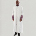 Men's triple pleated clergy robe with premium brocade cuffs - white and purple