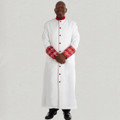 Men's triple pleated clergy robe with premium brocade cuffs - white and red