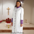 Ladies White/Purple Clergy Robe with Premium Satin Cuffs and Embroidered Crosses