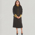 Ladies 2 Pc Black/Gold Clergy Suit Skirt Set
