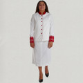 Ladies White/Red 2 Pc Clergy Suit Skirt Set