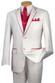 Men's Stylish Two-Tone 2-Button Tuxedo - White/Fuschia