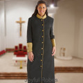 Ladies Black and Gold Clergy Robe with Satin Cuffs