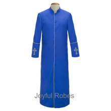 Men's Royal Blue and Gold Clergy Robes with Embroidered Crosses