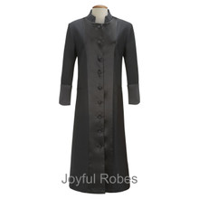 Ladies Black/Black Satin Clergy Robes
