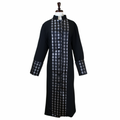 Women's Black/Silver Premium Clergy Robe with Brocade - Ladies Clergy Robes