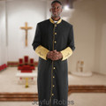 Men's Black and Gold Clergy Robe with Satin Cuffs
