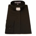 Women's Long-Sleeve Tab Collar Clergy Shirt - Black