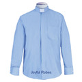 Men's Long Sleeve Light Blue Tab Collar Clergy Shirt