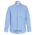 Men's Long Sleeve Light Blue Tab Collar Clergy Shirt