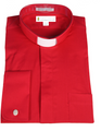 107. Men's Long-Sleeve Tab-Collar Clergy Shirt - Red