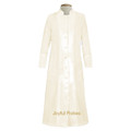 Women's Clergy Robe in Ivory with Ivory Satin Panel Front & Cuffs - Ladies Clergy Robes
