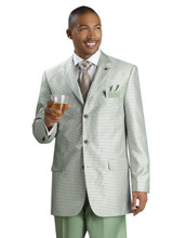 Fashion Houndstooth Plaid Suit in Sage