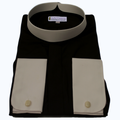 202. Men's Full-Collar Banded Clergy Shirt - Black with White Cuffs