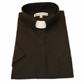 Men's Short-Sleeve Tab Collar Clergy Shirt - Black