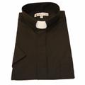 Men's Short-Sleeve Tab Collar Clergy Shirt - Black