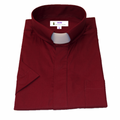 Men's Short-Sleeve Tab Collar Clergy Shirt in Burgundy - Burgundy Clergy Shirts for Men