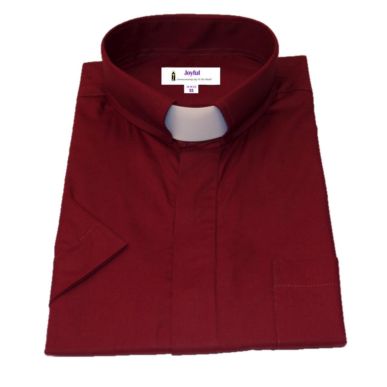 Men 39 S Short Sleeve Tab Collar Clergy Shirt Burgundy