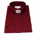 Men's Short-Sleeve Tab Collar Clergy Shirt in Burgundy - Burgundy Clergy Shirts for Men