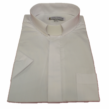 Men's Short-Sleeve Tab Collar Clergy Shirts in White