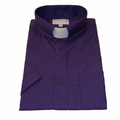 Men's Short-Sleeve Tab Collar Clergy Shirt - Purple
