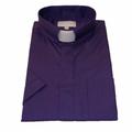 Men's Short-Sleeve Tab Collar Clergy Shirt - Purple