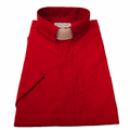 Men's Tab Collar Short-Sleeve Clergy Shirt - Red